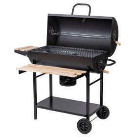 Barbecue con coperchio e ripiani in legno