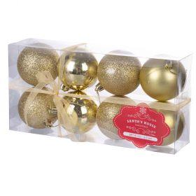 Set 8 palle di Natale, oro Ø7 cm