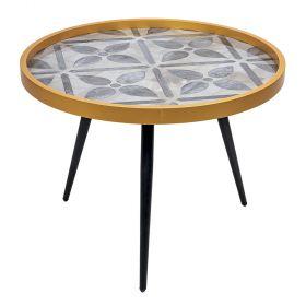 Tavolino tondo laccato grey flower Ø60 x 45 cm