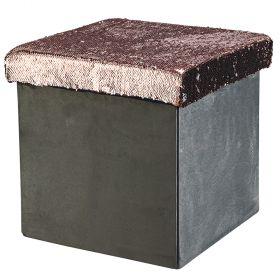 Pouf paillettes grigio l.38xp.38xh.38 cm