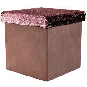 Pouf paillettes rosa l.38xp.38xh.38 cm