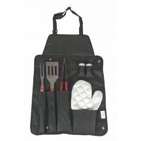 Set 6 utensili con grembiule da barbecue