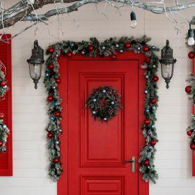 Festone natalizio con rami innevati l. 270 cm